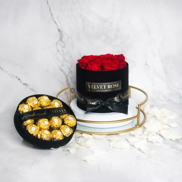 THE ROMANCE BUNDLE – ETERNITY REAL PRESERVED RED ROSES & FERRERO ROCHER