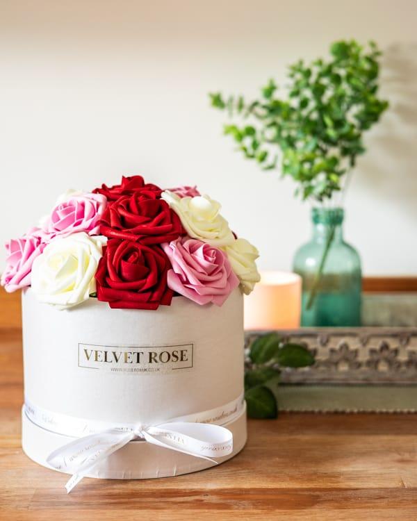 Everlasting Artificial Multi-Coloured Roses Box