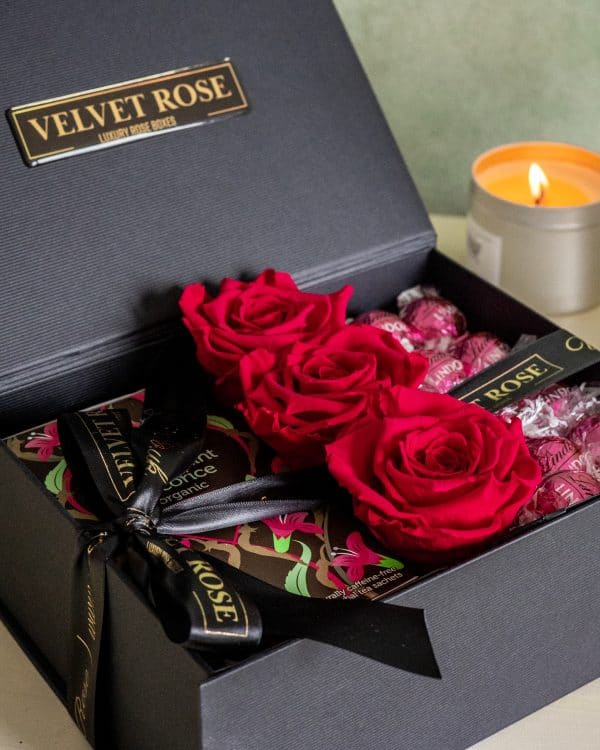 THE HERBAL TEA, RUBY RED ETERNITY ROSES & CHOCOLATE GIFT BOX