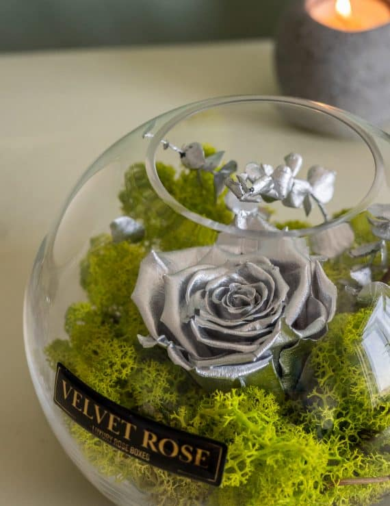 METALLIC SILVER- GLASS SOLO ROSE – ETERNITY REAL PRESERVED ROSE