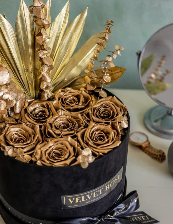 THE GOLDEN PALM ROSE BOX – METALLIC GOLD ETERNITY REAL PRESERVED ROSES