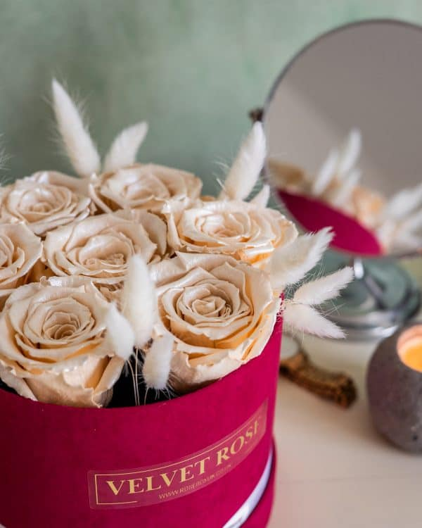 CHAMPAGNE SATIN ROSE BOX – SPECIALITY ETERNITY REAL PRESERVED SATIN ROSES