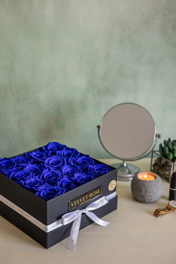 BLUE GALAXY BOX OF ROSES – ETERNITY REAL PRESERVED ROSES