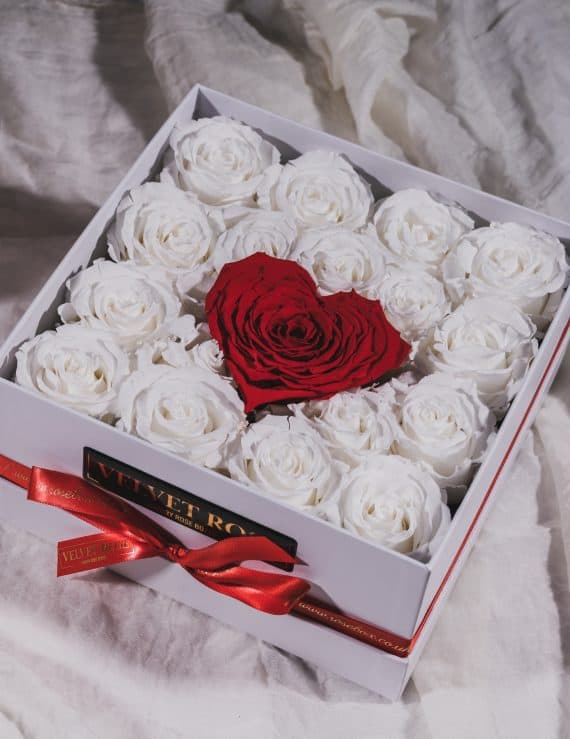 The Contrast Of Elegance - Eternity Real Preserved Roses Box