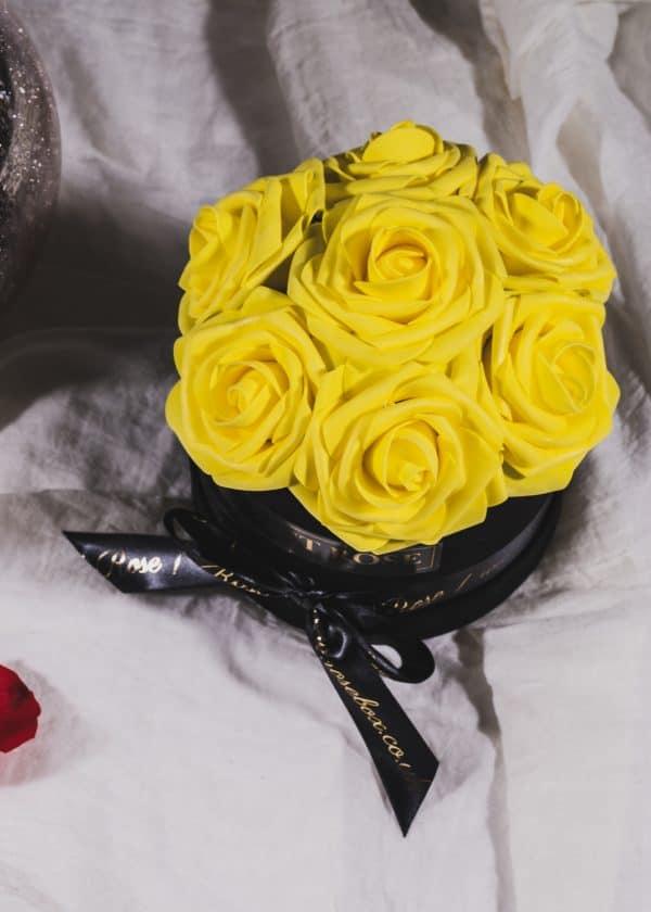 Everlasting Artificial Lemon Yellow Roses Box